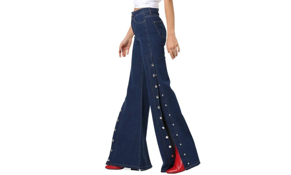 side-slit button-up-tape-jeans